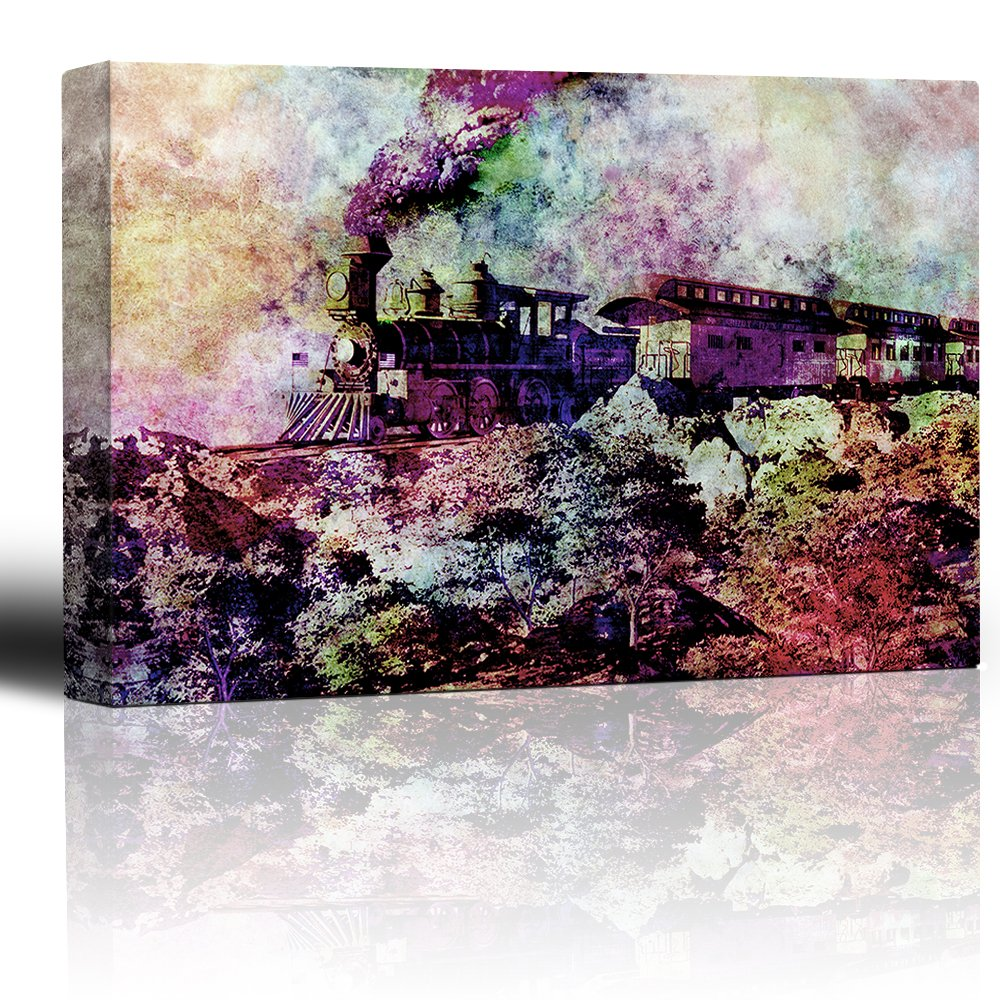 wall26 - Watercolor Train with Smoke Charging Through deser Landscape - Old Locomotive and Passenger Cars Plumes of Smoke - Canvas Art Home Decor - 16x24 inches