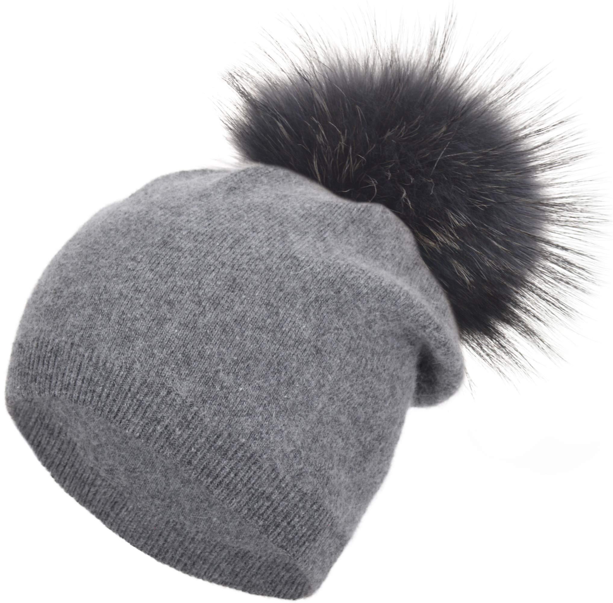 Womens Ladies Darkgrey Cashmere Slouchy Beanie Winter Warm Hat for Women Winter Real Raccoon Fur Pom Pom Winter Hat Cashmere Wool Knit Beanie Ski Skull Cap Hat for Women (Darkgrey Pom)