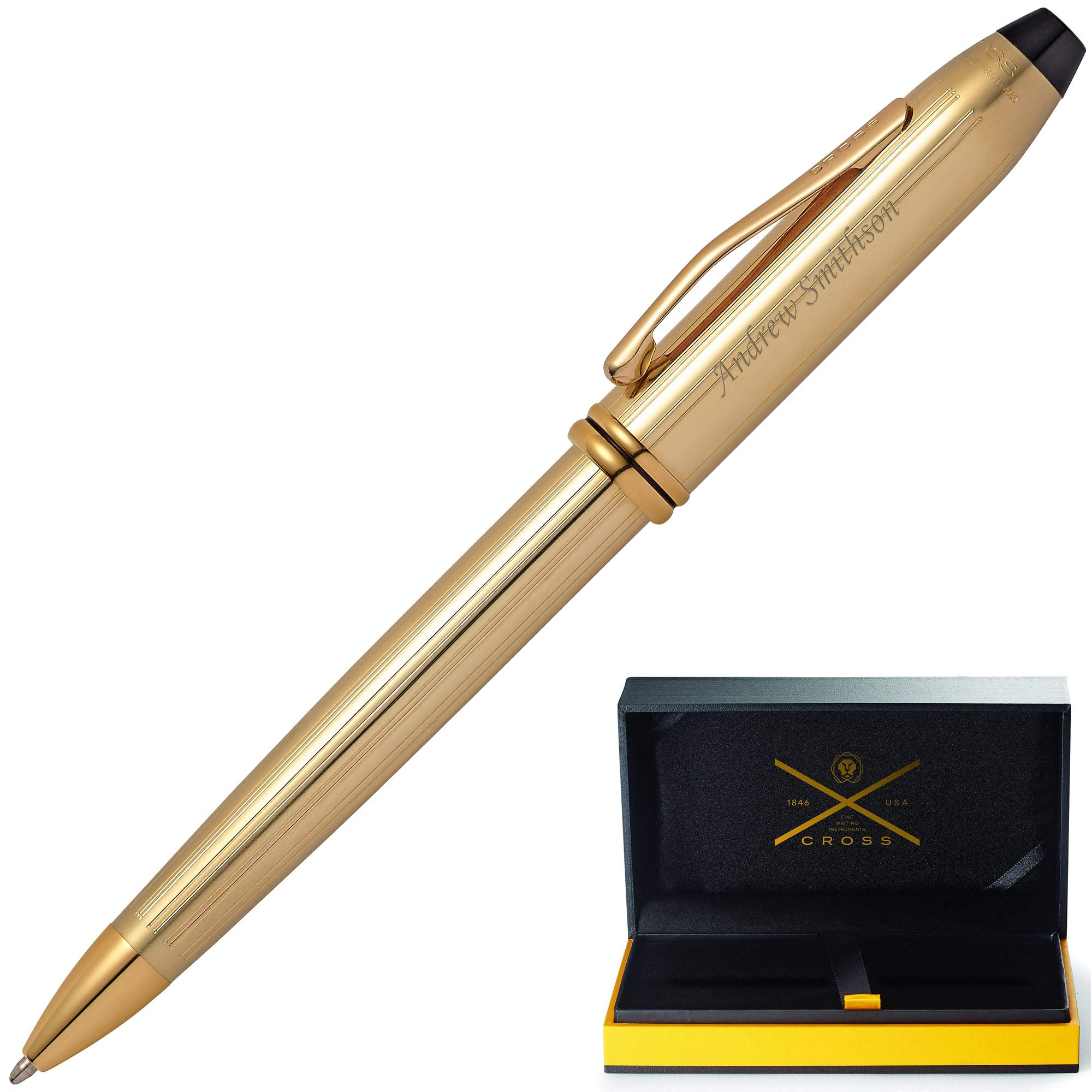 Gold Cross Pen | Engraved/Personalized Cross 10KT Gold Plated Townsend Ballpoint Pen with Case. Custom Engraved Fast