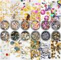 editTime 12 Wheels Mixed Sparkle Nail Art Rhinestones Diamonds Crystals Beads Artificial Pearls and Gold Silver Nail Studs Gems Metal Rivets Charms Hollow Moon Star Shaped (black)
