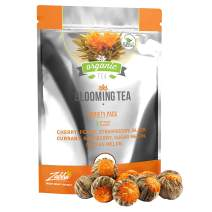 Blooming Tea - 7 Organic All Natural Flavors of Flowering Tea - Organic Calendula Flowers and Green Tea Leaves in Hand Sewn Blooming Tea Balls from Kiss Me Organics - 7 Blooms - One of Each
