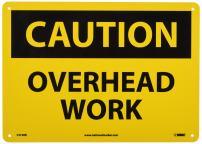 "NMC C574RB OSHA Sign, Legend ""CAUTION - OVERHEAD WORK"", 14"" Length x 10"" Height, Rigid Plastic, Black on Yellow"
