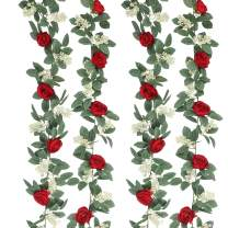 SHACOS Artificial Rose Vines Garlands Set of 2 Seeded Greenery Flower Vines Hanging Rose Floral Garlands Home Wedding Party Decor (Red, 2)