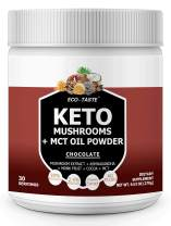Keto Shrooms – 6 Mushrooms Extract Powder + MCT Oil Powder + Ashwagandha + Monk Fruit – Perfect for Keto, Immunity Boost, Weight Loss and Stress, 270g - Chocolate