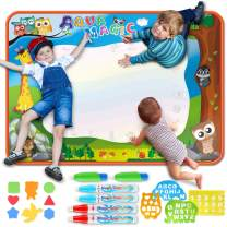 """ORASANT Doodle Mat, Educational Toys of 39.5""""x27.5"""" Extra Large Neon Color Water Drawing Mat with 6 Magic Pens and Interesting Drawing Accessories for Kids Toddler Boys Girls 2 3 4 5 6 7 8 9 Year Old"""