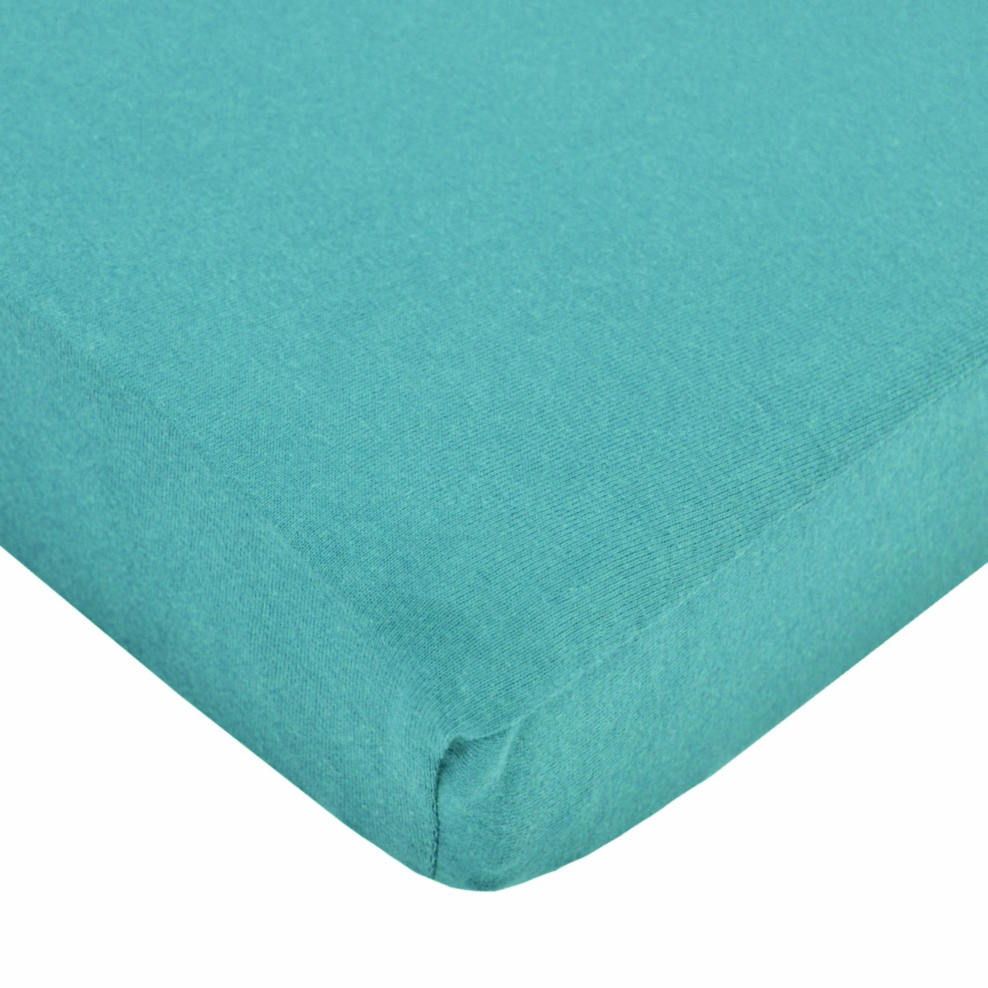 """TL Care Supreme 100% Natural Cotton Jersey Knit Fitted Crib Sheet for Standard Crib and Toddler Mattresses, Turquoise, 28"""" x 52"""", Soft Breathable, for Boys and Girls"""
