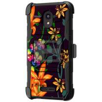 TurtleArmor | Compatible with Alcatel Insight Case | Alcatel TCL A1 Case [Hyper Shock] Fitted Armor Holster Belt Clip Hybrid Cover Stand Shock Protective Case - Flower 4