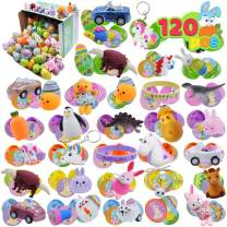 JOYIN 120 Pcs Prefilled Premium Printed Easter Eggs Hinged 2 ⅜ with Toys and Stickers for Easter Eggs Hunt, Basket Stuffers Fillers, Easter Theme Party Favor, Classroom Prizes, Party Decor