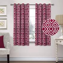 Flamingo P Blackout Curtains 63 Inch for Bedroom Kids Room, Burgundy Ikat Fret Grommet Top Curtain Pair Set, Thermal Insulated Energy Saving Curtain Drapes (52 x 63 Inch, Burgundy, 1 Pair