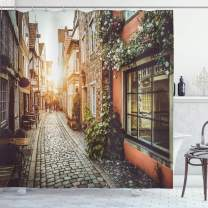 """Ambesonne City Shower Curtain, Old Town Photography Europe Scenes Vintage Buildings Cafes Cool Architecture, Cloth Fabric Bathroom Decor Set with Hooks, 84"""" Long Extra, Pale Orange"""