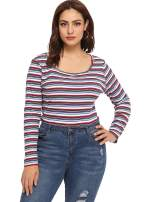 Milumia Women's Casual Striped Ribbed Tee Knit Crop Top