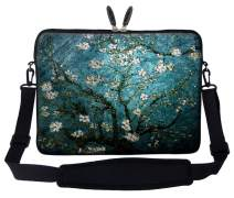 Meffort Inc 17 17.3 inch Neoprene Laptop Sleeve Bag Carrying Case with Hidden Handle and Adjustable Shoulder Strap - Vincent Van Gogh Almond Blossoming