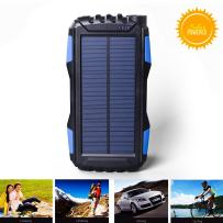 Solar Charger,Kiizon 25000mAh Portable Solar Power Bank Waterproof External Battery Powerd Pack Dual 2.1A USB Port,Solar Phone Chargers with Flashlight for iphone,android,cell phone,Electronic Devices