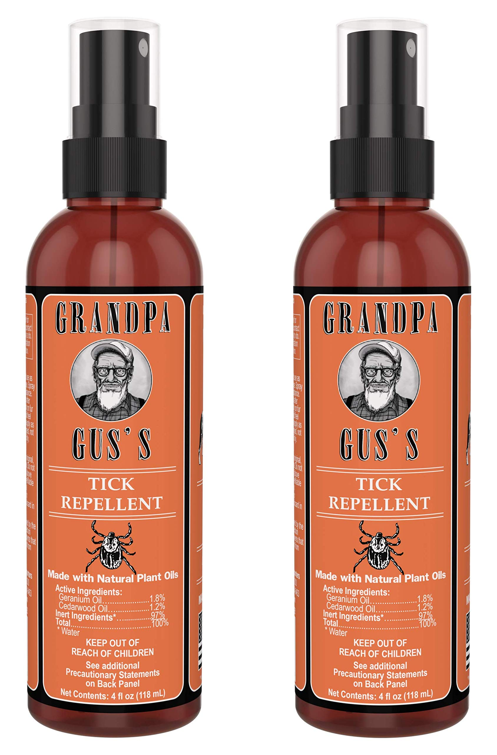Grandpa Gus's All-Natural Tick Repellent Made With Geraniol/Cedarwood Oils, Safe To Spray On Humans and Pets, No Burn/Skin Irritations, Citrus Smell Lasts For Hours, 4oz Traveling Bottles (Pack of 2)