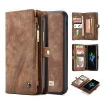 AKHVRS iPhone Xs Max Case Wallet Case, Handmade Premium Cowhide Leather Wallet Case,Zipper Wallet Case Detachable Magnetic Case & 11 Card Slots [Magnetic Closure] for 6.5 Inch iPhone Case Brown