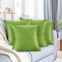 """Nestl Bedding Throw Pillow Cover 24"""" x 24"""" Soft Square Decorative Throw Pillow Covers Cozy Velvet Cushion Case for Sofa Couch Bedroom, Set of 4, Garden Green"""