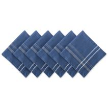 DII 100% Cotton French Stripe Tabletop Collection For Everyday Indoor/Outdoor Dining, Special Occasions or Dinner Parties, Machine Washable, Napkin Set, Blue Chambray 6 Count