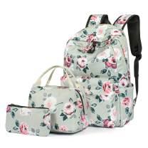 H HIKKER-LINK Floral School Backpack Set Bookbag&Lunch Bag&Pencil Case Gray