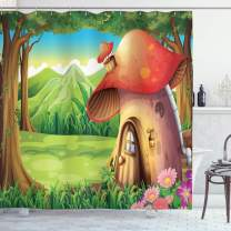 """Ambesonne Mushroom Shower Curtain, Shroom House Land Mountain Daisies Weeds Surrounding Woods Mountain, Cloth Fabric Bathroom Decor Set with Hooks, 84"""" Long Extra, Green Red"""
