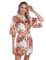 Hawiton Women's Floral Robes Sexy Satin Kimono Robe Lightweight Knee Length Dressing Gown for Wedding Bridesmaid Party