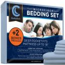 CushyBeds Premium Bed Sheet Set Brushed Microfiber 1800 Bedding - Hypoallergenic, Wrinkle, Fade, Stain Resistant - 6 Pieces Includes 2 Bonus Pillow Case (Queen, Light Blue)