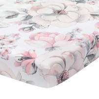 Lambs & Ivy Signature Botanical Baby Watercolor Floral Cotton Crib Sheet- White