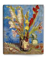 DECORARTS - Vase with Gladioli and Chinese Asters, Vincent Van Gogh Art Reproduction. Giclee Canvas Prints Wall Art for Home Decor 30x24