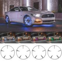 """LEDGlow 4pc 14"""" Million Color LED Wheel Ring Accent Lighting Kit - Fits Wheels with 13.5"""" Brakes - Heavy-Duty & Versatile Design - Waterproof Light Strip - Includes Control Box & Wireless Remote"""