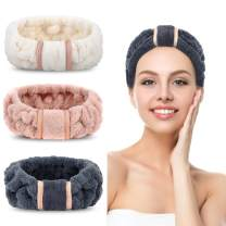 3 Pack Spa Headbands Microfiber Headbands SkinCare Headbands Face Wash Headband Face Washing Headband Facial Headband Makeup Headband Towel Headbands for Women for Washing Face(White, Pink, Navy blue)