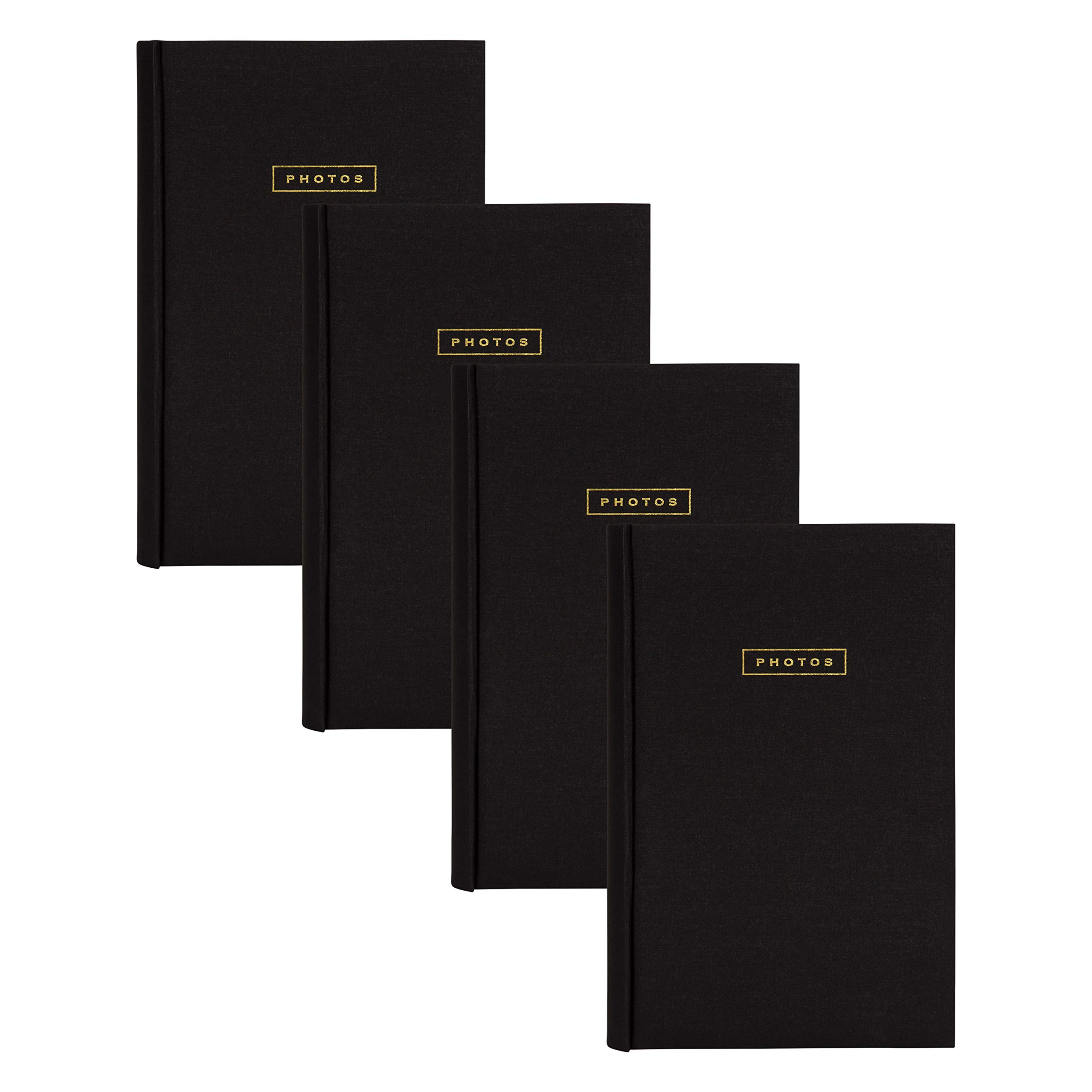 DesignOvation Black Fabric Deluxe Photo Album with Front Cover Sentiment Photos in Gold Block Letters - Holds 300 4x6 Photos, Set of 4