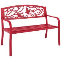 Best Choice Products Outdoor 50-inch Steel Park Bench Porch Chair Yard Furniture w/Bird Design and Slatted Seat, Red