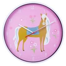 Wildkin Kids Wall Clock for Boys and Girls, Features Silent Quartz Movement, Glass and Durable Plastic Cover, Battery Not Included, Measures 12 x 1.63 x 12 Inches, BPA-Free, Olive Kids (Horses)
