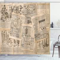 """Ambesonne Antique Shower Curtain, Newspaper Pages with Advertising and Fashion Magazine Woman Edwardian Publicity Image, Cloth Fabric Bathroom Decor Set with Hooks, 70"""" Long, Cream"""