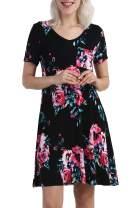 lionstill Women's Summer Casual T Shirt Dresses Short Sleeve Swing Dress Pockets