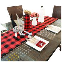 KSPOWWIN Buffalo Check Table Runner, Cotton Table Runner Handmade Red and Black Plaid for Family Dinner, Thanksgiving, Christmas Table Decoration, Outdoor or Indoor Parties, 14 x 72 inch