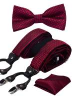 GUSLESON Brand New Adjustable Plaid Floral 6 Clips Y Shape Suspenders Pre-tied Bow Tie and Pocket Square Set with Gift Box