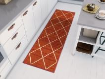 """Well Woven Non-Skid/Slip Rubber Back Antibacterial 3x12 (2'7"""" x 12' Runner) Diamond Lattice Print Rust Red Thin Low Pile Machine Washable Indoor Outdoor Area Rug"""