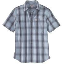 Carhartt Men's 103551 Essential Plaid Open Collar Short Sleeve Shirt - Large Tall - Dusty Blue