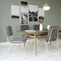 Novogratz Lex Upholstered Dining Chair, Gold Frame & Light Grey Linen Upholstery