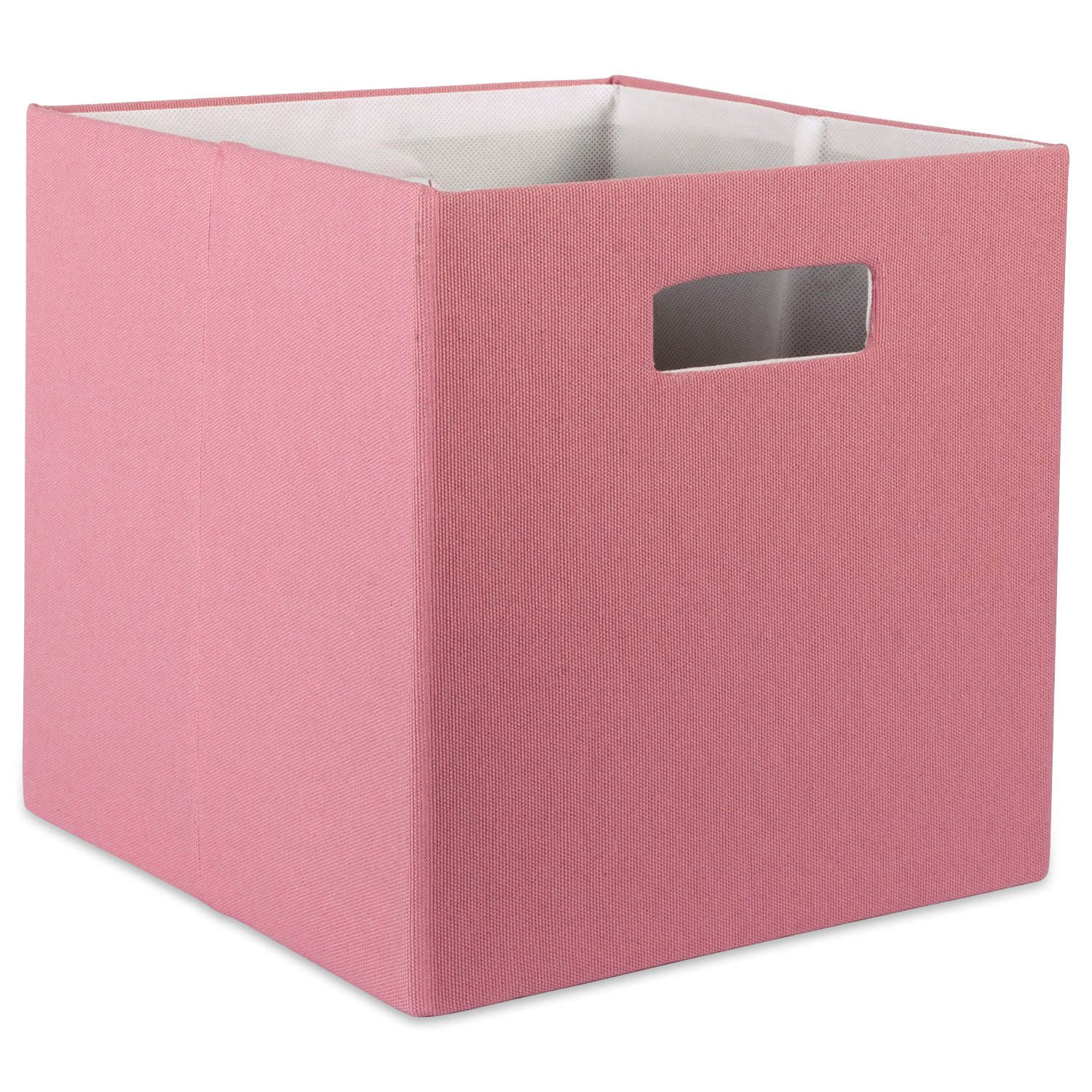 "DII Hard Sided Collapsible Fabric Storage Container for Nursery, Offices, & Home Organization, (11x11x11"") - Solid Rose"