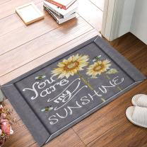 FAMILYDECOR Doormat Indoor Rubber Non Slip Entrance Way Welcome Door Mat for Bathroom/Kitchen/Front Door Waterproof Absorb Area Rugs Floor Runner Carpet, You are My Sunshine Yellow Sunflower