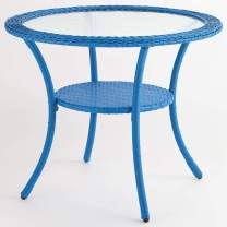 BrylaneHome Roma All-Weather Resin Wicker Bistro Table, Cornflower Blue