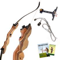 KESHES Takedown Hunting Recurve Bow and Arrow - 62 Archery Bow for Teens and Adults, 15-60lb Draw Weight - Right and Left Handed, Archery Set Bowstring Arrow Rest Stringer Tool Sight
