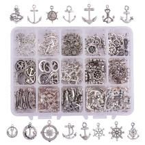 PH PandaHall 150pcs 15 Style Tibetan Alloy Nautical Anchor Charms, Antique Silver Anchor Helm Pendants Charms Beads for DIY Bracelet Necklace Jewelry Making