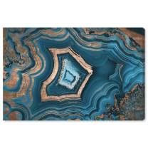 "The Oliver Gal Artist Co. Abstract Wall Art Canvas Prints 'Dreaming About You Geode' Home Décor, 15"" x 10"", Blue, Gold"