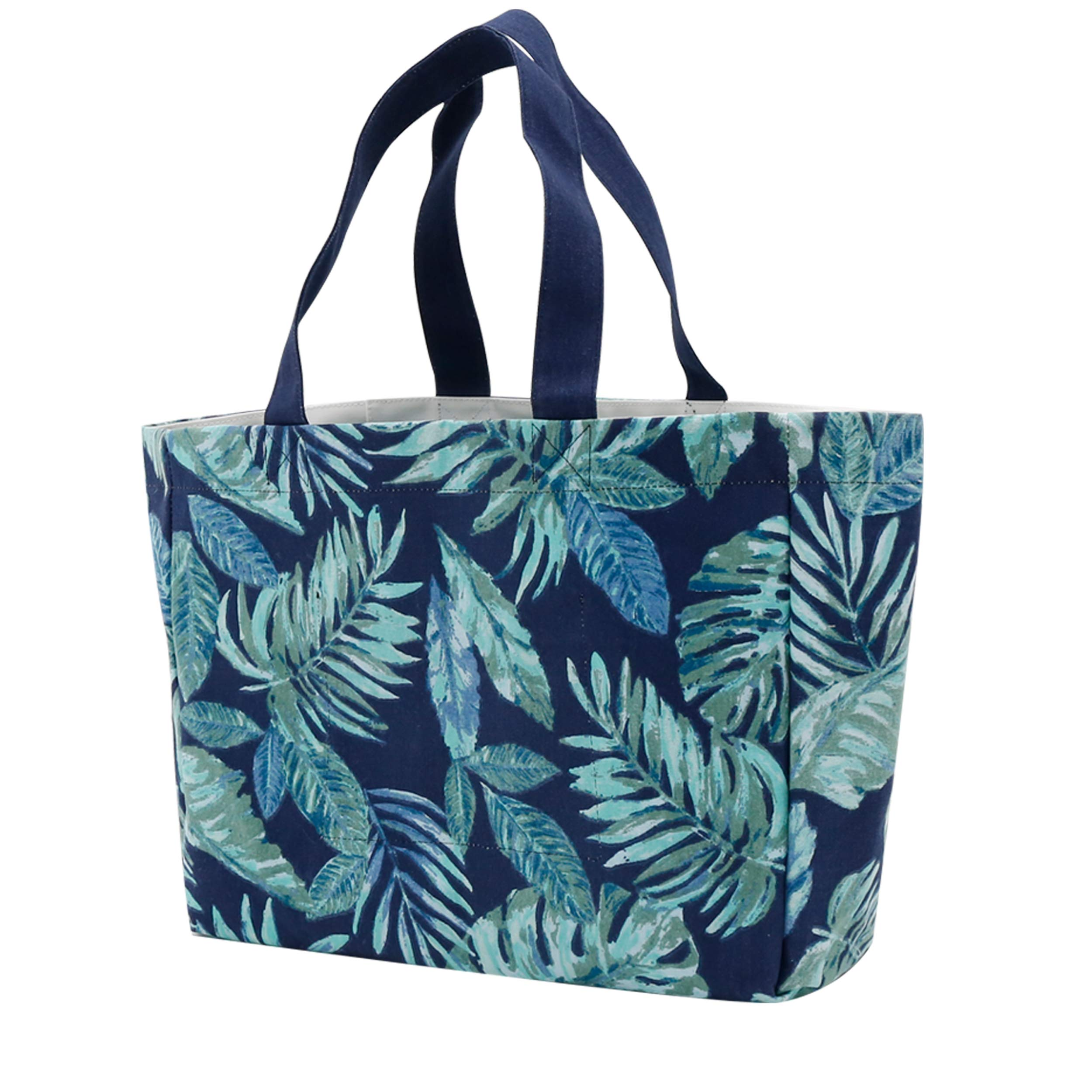 Beach Bag, Large Tote Bag Canvas Reusable with Water Resistant for Gym Beach Travel Shopping Daily Bags, Tropical