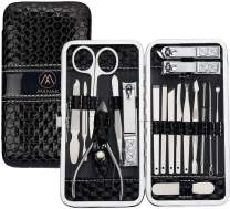 Nail Clippers Kit - Manicure Pedicure Set - Professional Stainless Steel Pedicure Tools 18pcs-Travel Scissors Grooming Case Care for Men And Women (Black)