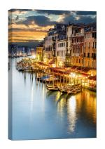 LightFairy Glow in The Dark Canvas Painting - Stretched and Framed Giclee Wall Art Print - Beautiful Venice - Master Bedroom Living Room Decor - 6 Hours Glow - 24 x 36 inch
