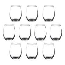 Stemless Wine Glass 9 oz ARC Perfection - Stem Less Design - Black - 10 Pack