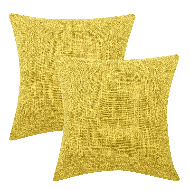 Lewondr Fine Linen Throw Pillow Cover, Set of 2 Square Soft Woven Fine Throw Pillow Case Sham Sofa Cushion Decoration Solid Color Pillowcase 18 x 18 Inch - Yellow
